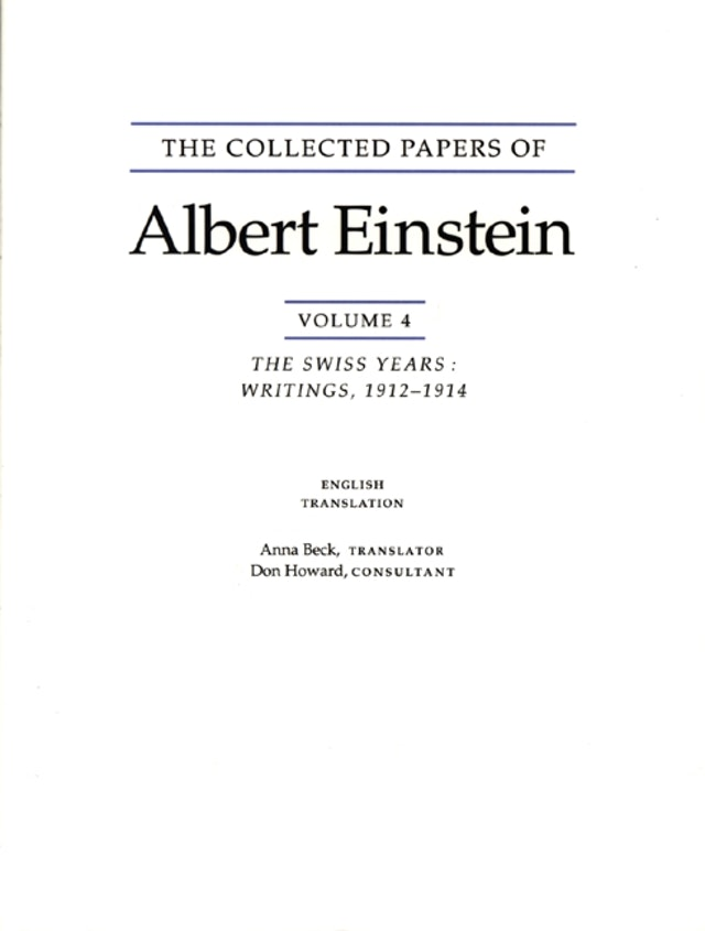 The Collected Papers of Albert Einstein, Volume 4 (English)