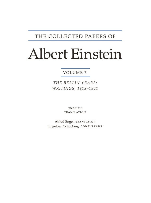 The Collected Papers of Albert Einstein, Volume 7 (English)