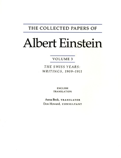 The Collected Papers of Albert Einstein, Volume 3 (English)