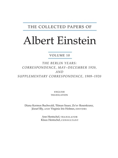 The Collected Papers of Albert Einstein, Volume 10 (English)