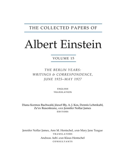 The Collected Papers of Albert Einstein, Volume 15 (Translation Supplement)